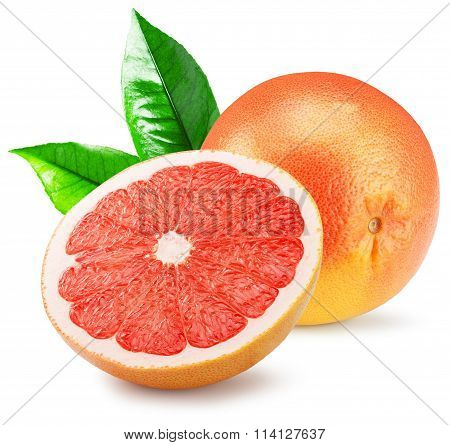 Red Grapefruit With Slice Isolated On The White Background