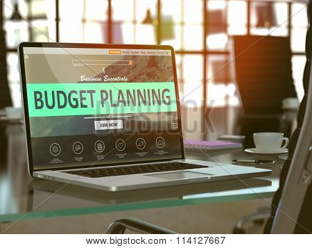 Laptop Screen with Budget Planning Concept.