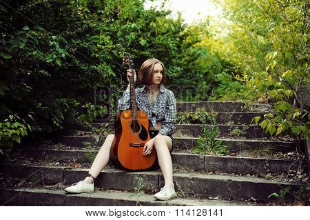 Musician Woman And Her Guitar In Good Day