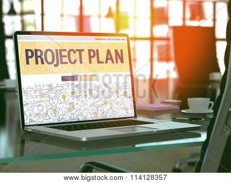 Project Plan Concept on Laptop Screen.
