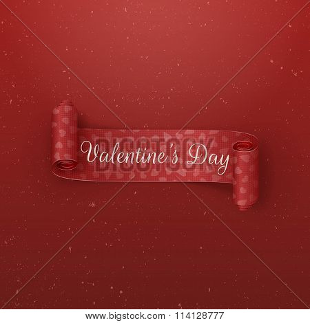 Valentines Day scroll Ribbon with greeting Text