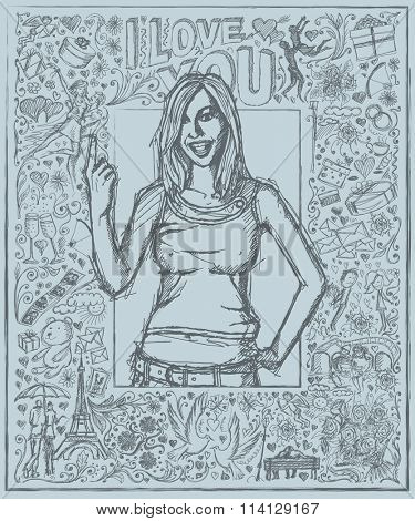 Love concept. Vector Sketch, comics style happy girl with finger up, against background with love story elements