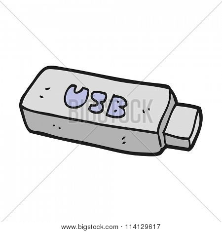 freehand drawn cartoon USB stick