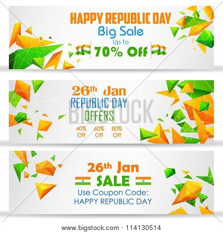 illustration of Republic Day sale banner with Indian flag tricolor