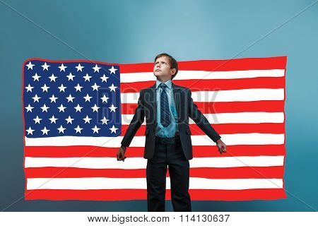 business style a teenager the boy threw his arms in the American