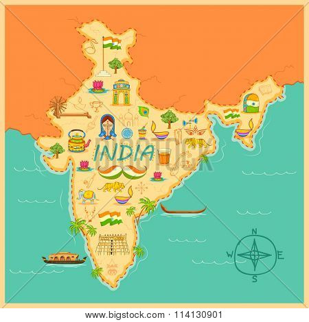 illustration of kitsch art of forming map of India