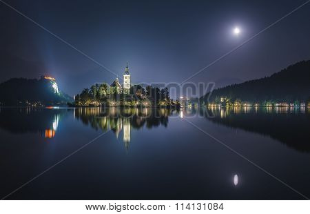 Church And Bled Castle On Bled Lake In Slovenia At Night