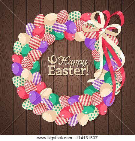Easter eggs wreath in flat rustic style
