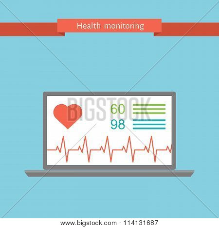 health monitoring signs using a netbook. flat vector illustration