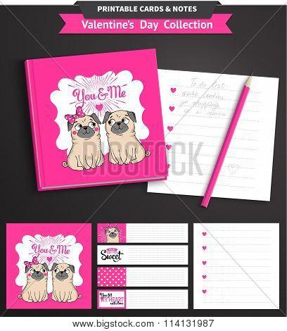 Valentines day printable set wih funny pugs.