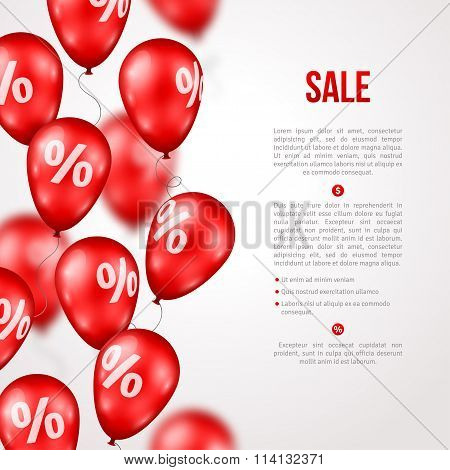 Sale Poster with Red Balloons