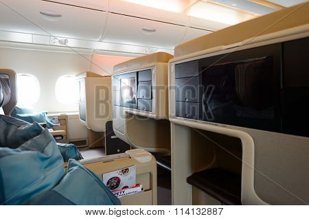 HONG KONG- NOVEMBER 03, 2015: interior of Singapore Airlines Airbus A380. Singapore Airlines Limited is the flag carrier of Singapore which operates from its hub at Changi Airport