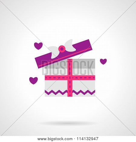 Cute pink gift box flat vector icon