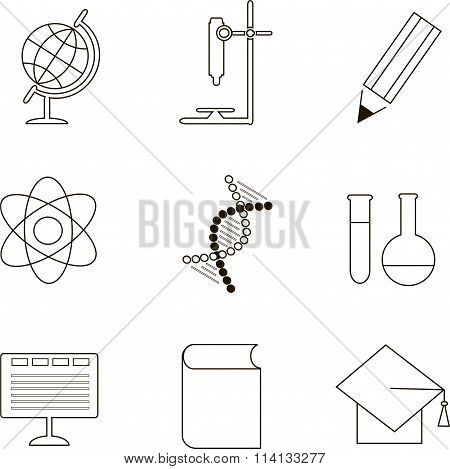 Education icons, black outline on white. Globe, microscope, pencil, atom, DNA, test tube, flask, com