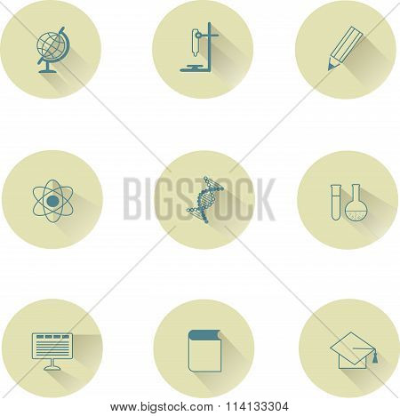 Education icons round, blue objects with shadow on beige, pastel colors