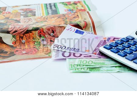 Shopping Planning Euro Bills And Magazine