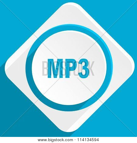 mp3 blue flat design modern icon for web and mobile app