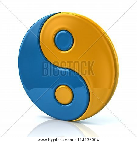 Blue And Yellow Ying Yang Symbol