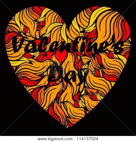 Valentine's day heart with spurts of flame.
