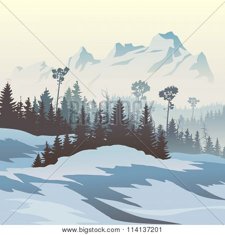 Illustration Of Winter Coniferous Forest With Mountains.