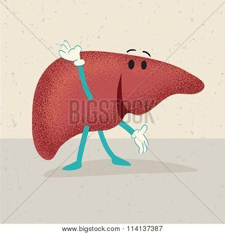retro cartoon of an happy healthy human liver