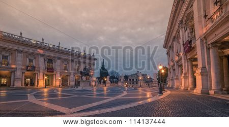 Rome, Italy: The Capitolium square in the sunrise