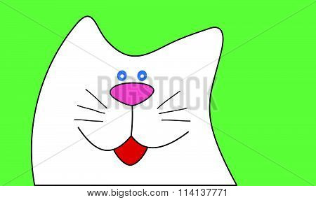 Funny cartoon cat. Flat style vector illustration.