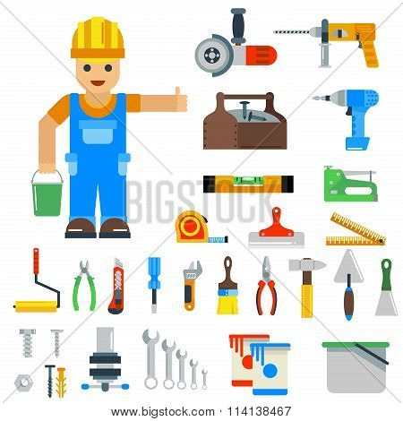 Home repair tools vector icons