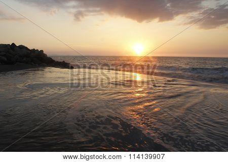 Splashing Waves on Beach Shoreline