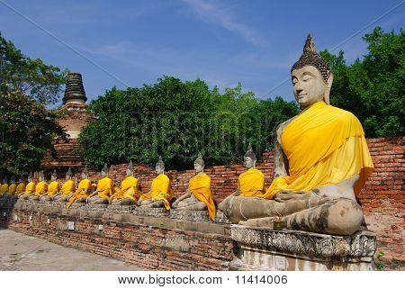 Row Of Sacred Buddha Images In Ayutthaya, Thailand