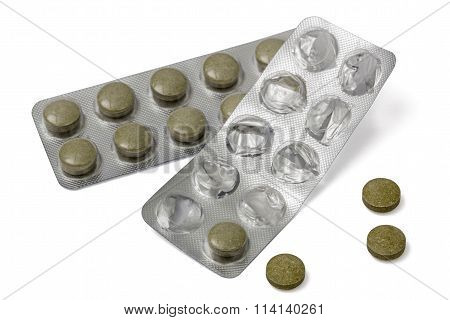 Used  Blister Pack With Pills, Isolated On White Background, With Clipping Path