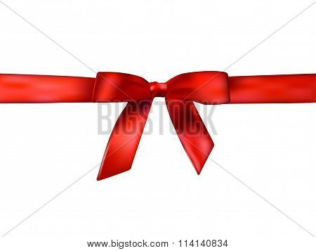 Holiday background with realistic shiny red satin gift bow and ribbon