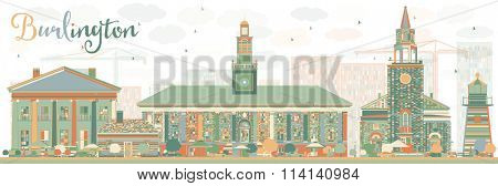 Abstract Burlington (Vermont) City Skyline with Color Buildings. Vector Illustration. Business and tourism concept with historic buildings. Image for presentation, banner, placard or web site