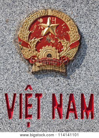 Close up of an aged emblem of Vietnam