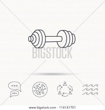 Dumbbell icon. Fitness sport or gym sign.