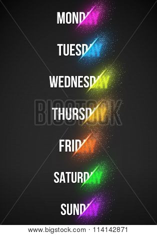 Energy Explosion Sale Concept Vector Illustration. Week Days EPS