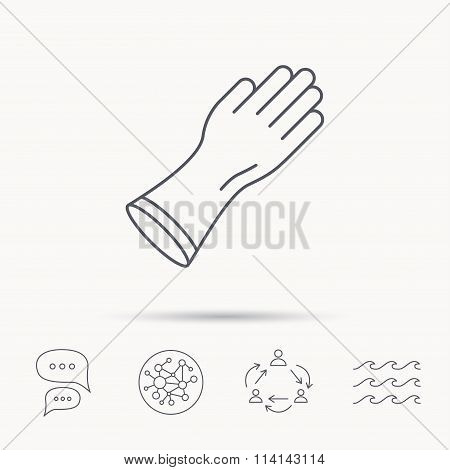 Rubber gloves icon. Latex hand protection sign.