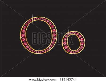Oo Ruby Jeweled Font With Gold Channels