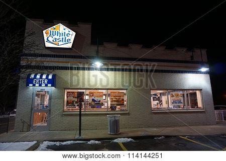 White Castle Restaurant at Night