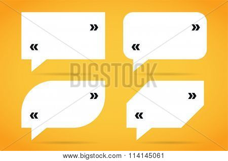 Quote bubble blank template. Quote bubble icon. Empty bubble template. Quote design, quoting box, text bubble sign, paper information quote template. Quote form. Bubble template set. White quote blank