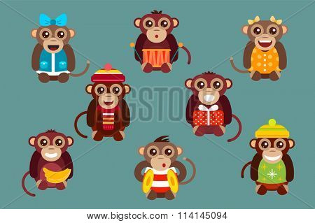 Happy cartoon monkey toys dancing party birthday background. Monkey party birthday dance. Merry christmas monkey toys, monkey, banana, jump, smile, monkey play. Monkey animals cartoon flat style