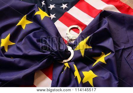 Partnership. USA and EU Flag