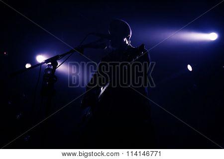 Guitarist plays on rock concert