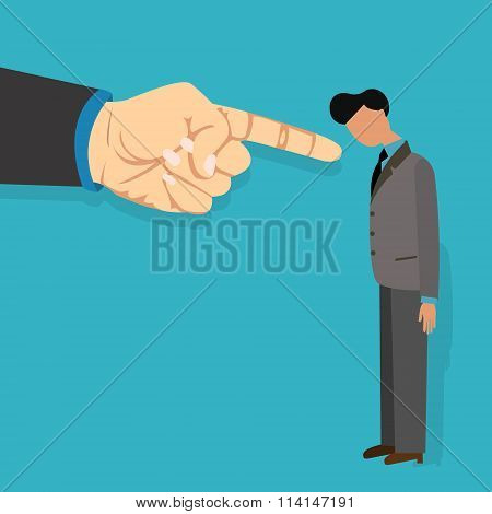 employee blame by boss get fired finger pointing blaming vector illustration cartoon