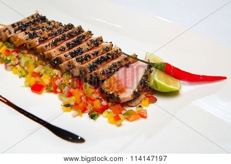 Baked loin of tuna