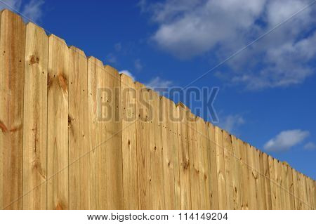 wood fence perspective view in sunny day