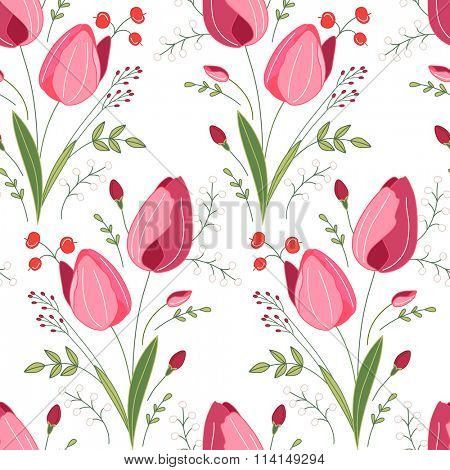 Seamless pattern with stylized cute red tulips.  Endless texture for your design, greeting cards, announcements, posters.