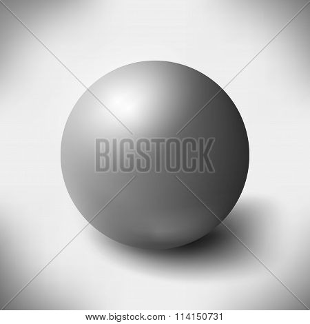 Big glass sphere with transparent glares and highlights on grey background