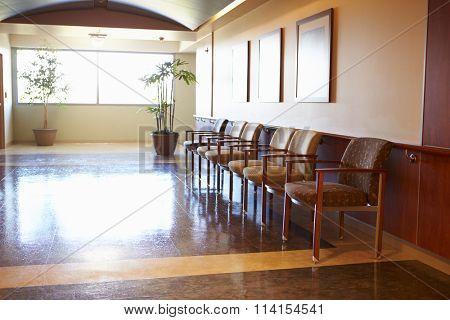 Empty Waiting Room In Modern Hospital