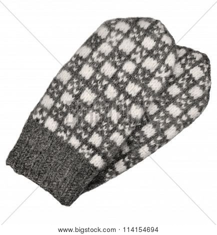 Gray Mitten Pair Isolated, Grey White Textured Woolen Mittens Pattern, Knitted Warm Wool Winter
